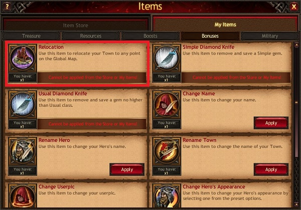 Items for relocation - Vikings: War of Clans browser guide
