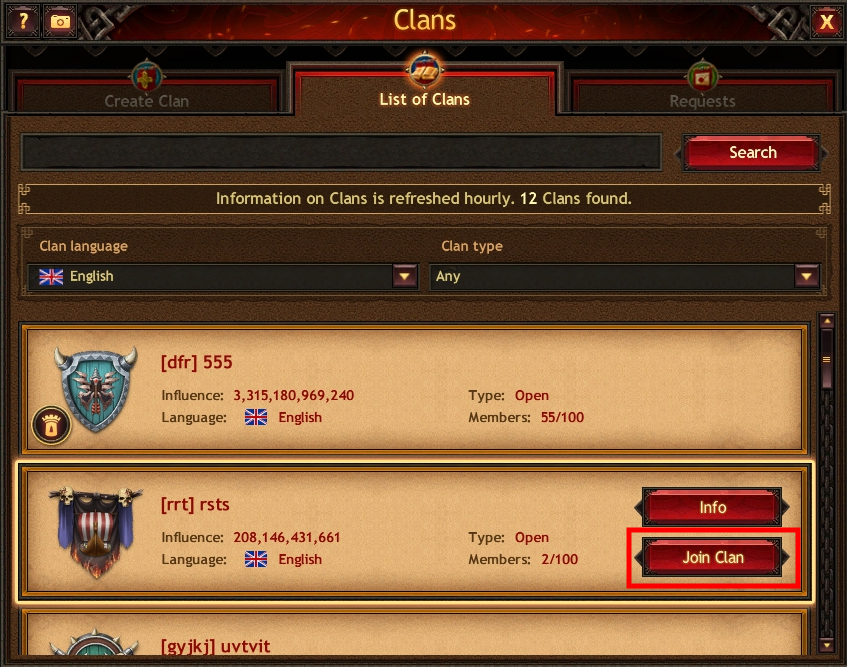 How To Join A Clan Vikings War Of Clans Browser Guide