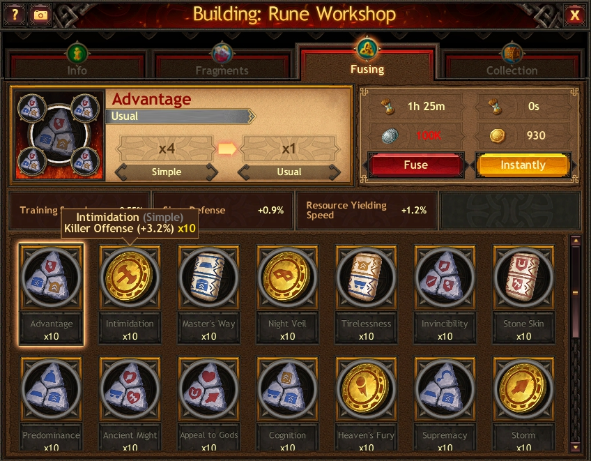 Creating and Fusing Runes - Vikings: War of Clans browser guide